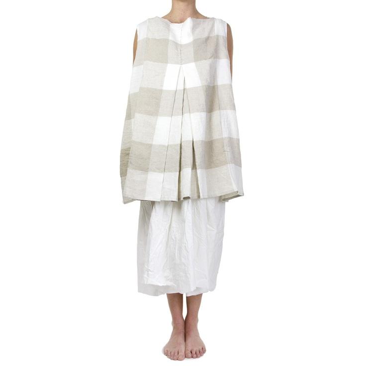 Daniela Gregis,  White and Natural Check Linen Dress