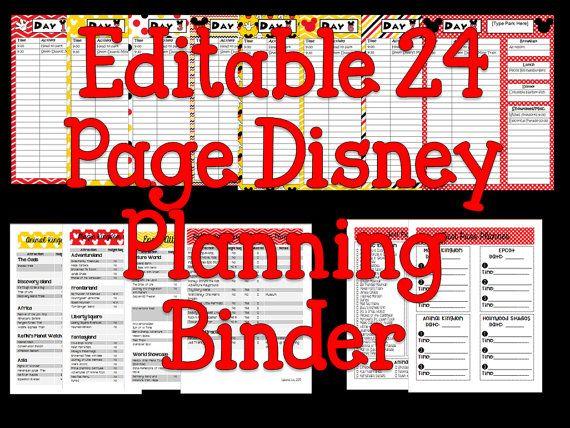 Instant Download Editable Disney Planning Binder by liviescloset