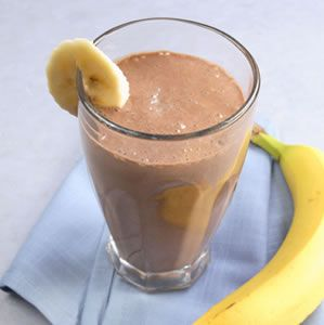 Banana-Cocoa Soy Smoothie - substitute soy and tofu for almond milk