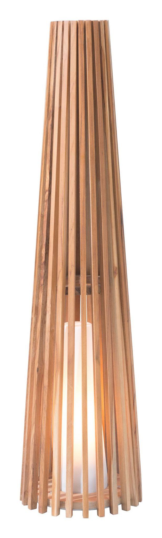 Outdoor floor lamp - Cosima Medium Outdoor Floor Lamp Natural Teak Fiberglass Resin