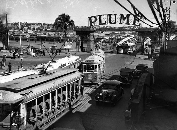 Trams leaving the Victoria Bridge and entering Queen Street, Brisbane c1930s.
