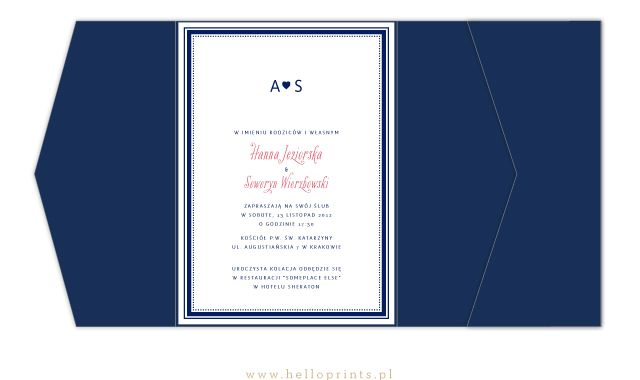 Eleganckie zaproszenie Anna w niebieski folderze