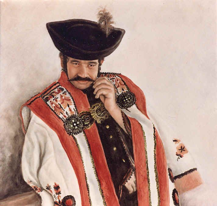 "Schilderij: ""Magyar Cowboy-Csikós"" (Cowboy uit Hortobágy). Magyar = Hongaar Hortobágy - ligt ten oosten van Boedapest, Hongarije"