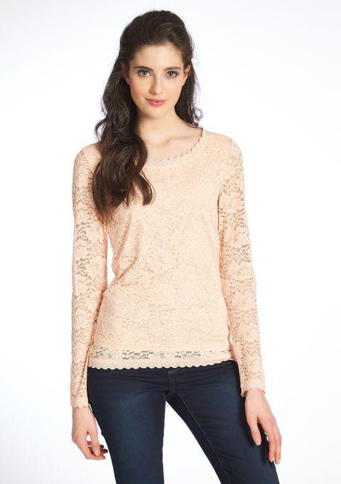 Lola Liza Kanten T-shirt met lange mouwen apricot licht pastel oranje  lace longsleeve shirt