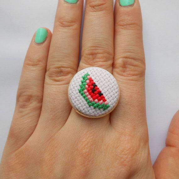 SALE Cross stitch watermelon adjustable silver tone by MaMagasin, £6.00
