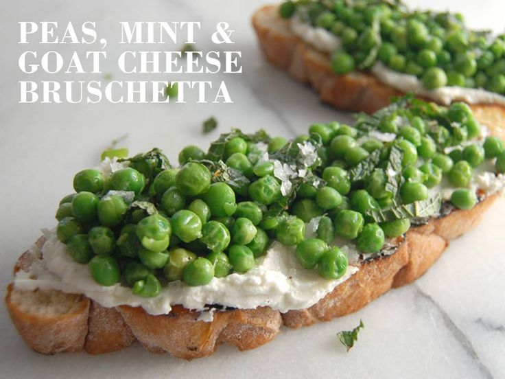 ... goat cheese. Top with sautéed peas and garnish with fresh mint and
