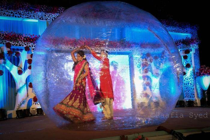 Fun indian wedding decorations - Dancing in a zorbing ball
