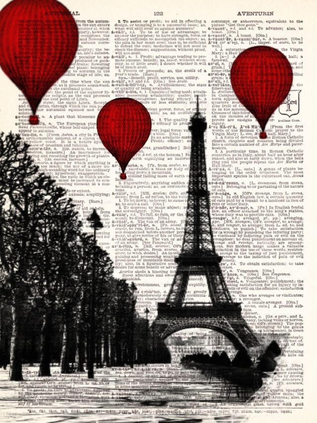 - Hot Air Balloons Over Paris Vintage Dictionary Print Vintage Book Print Page Art Upcycled Vintage Book Art. $8.98, via Etsy.