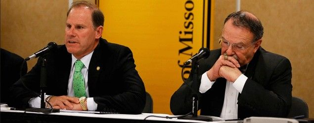 University of Missouri system President Tim Wolfe, left, and Chancellor R. Bowen Loftin. (AP)