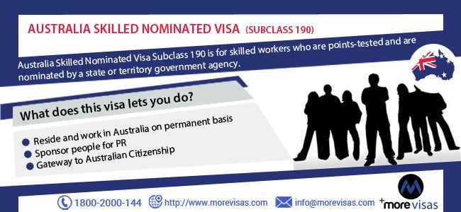 Want to apply for Australia Skilled Nominated Visa (Subclass 190) here is solution. To apply under this program, call MoreVisas at 1800-2000-144 or drop an enquiry at http://www.morevisas.com/quick-enquiry.
