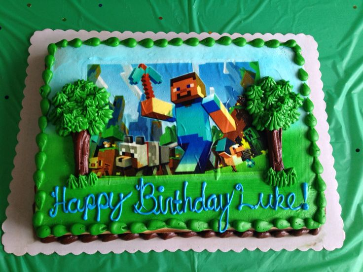 Minecraft birthday cake. Have bakery imprint the photo image, then decorate.