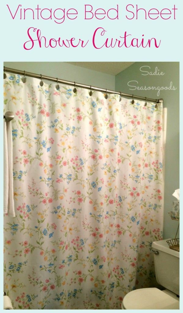 DIY your way to a fresh and inexpensive way to brighten your bathroom with a shower curtain upcycled from a vintage bed sheet! It's easier than you think and costs almost nothing to make. I just LOVE how this thrift store repurpose project turned out. #sadieseasongoods