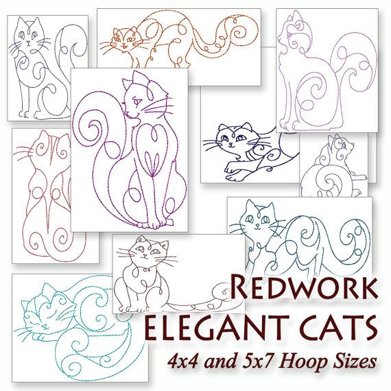 Redwork Elegant Cats Machine Embroidery Patterns / Designs 4x4 and 5x7 Hoop INSTANT DOWNLOAD Colorwork Outline Bluework Kitties on Etsy, $8.00
