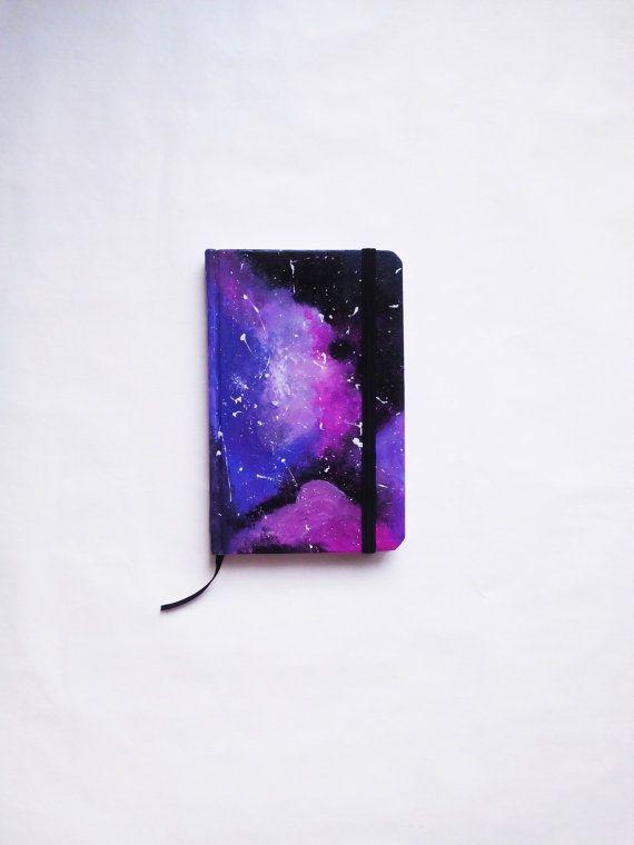Awesome Galaxy Notebook, handmade #galaxy #notebook #journal #agenda #boho #bohostyle #cosmos #stars #gift #idea #hipster #blue #black #purple #small