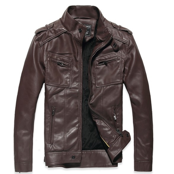 Vintage Front Zipper Pockets Mens Brown Leather Jacket [Vintage Mens Brown Leather Jacket] - $85.00 : letterman jackets cheap