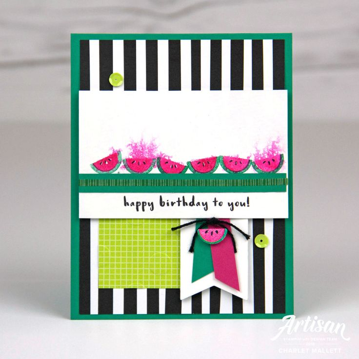 Fruit Basket Watermelon card - Charlet Mallett, Stampin' Up! 2018 Artisan Design Team