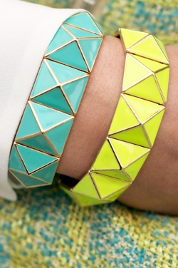 Neon bracelets with gold