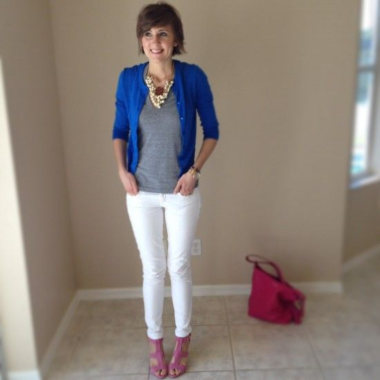 Rose a la Mode - Cute outfit idea, White Jeans, grey top, blue cardigan, pink heels