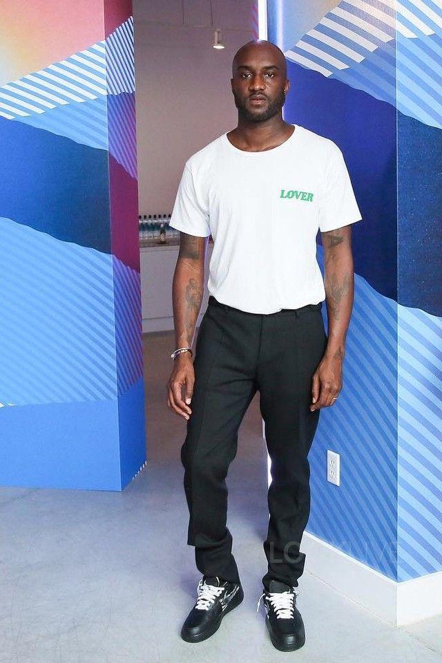 Virgil Abloh wearing  Nike Air Force 1 Low Sneakers, Bianca Chandôn Lover T-Shirt
