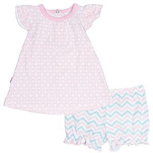 Kushies Geo Baby Dress & Bloomer Set - Light Pink