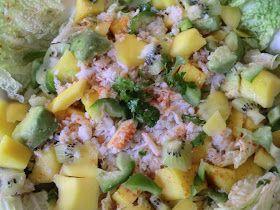 Ma petite cuisine gourmande sans gluten ni lactose: Salade de chou chinois au crabe, mangue, avocat et kiwi