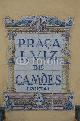 Praça Luís de Camões, ceramic sign on the square, Lisbon