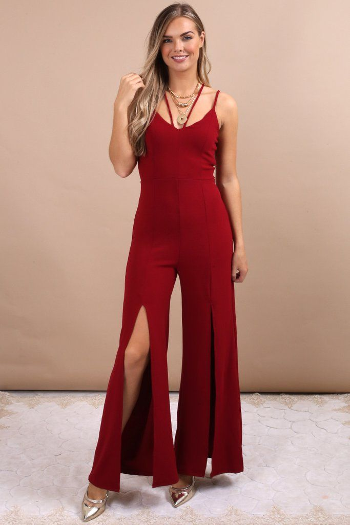 fe2031f12ca Esther Wine Strappy Cami Split Leg Jumpsuit
