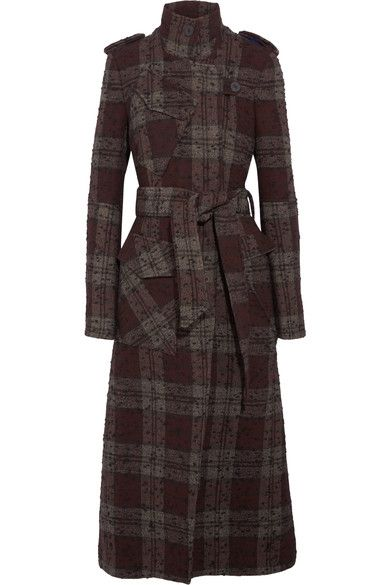Topshop Unique - Plaid Bouclé-tweed Trench Coat - Burgundy