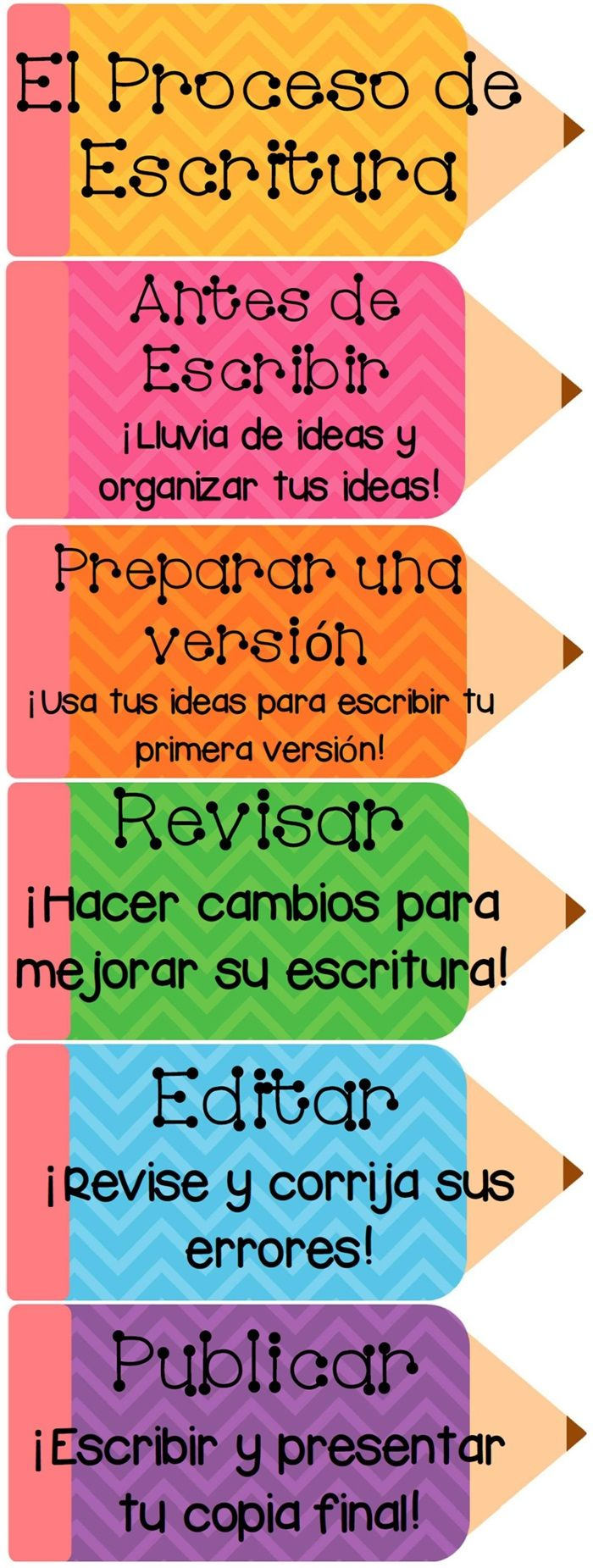 Writing Process Pencils from the Chevron Design Writing Resource in Spanish. All…