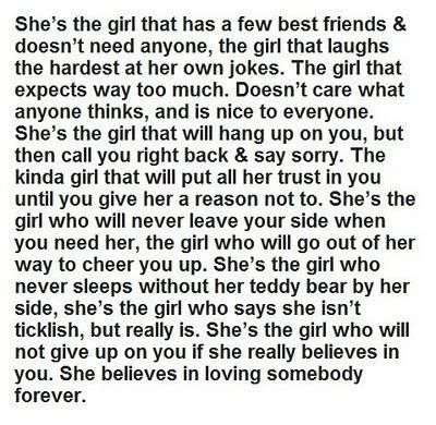 She's the type of girl to not give up.