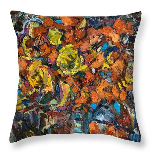 Flowers Throw Pillow featuring the painting Still Life With Renoir's Painting by Nikolay Malafeev