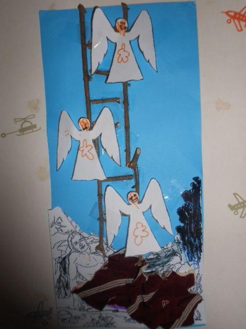 jakob ziet in zijn droom een mooie trap waarop engelen naar boven en naar beneden gaan hoe? -als deken een lapje stof -ladder =van houtens takjes gemaakt opgeplakt met plakband engeltjes opgezocht op google(zie pins op dit bord) -jakob opgezocht op google (zie pins op dit bord)