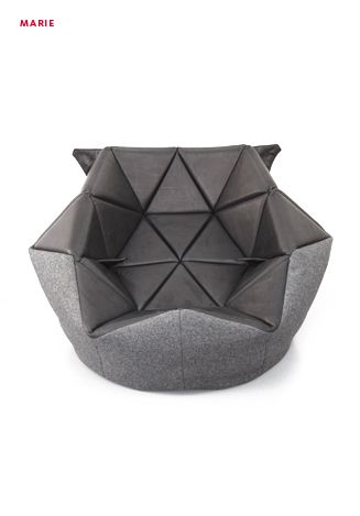 Geometrically Structured Slumped Seating Marie Beanbag