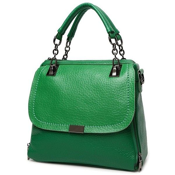 Chain Metal Textured Leather Tote Bag ❤ liked on Polyvore featuring bags, handbags, tote bags, chain handbags, metal purse, metal tote, green purse and green tote bag