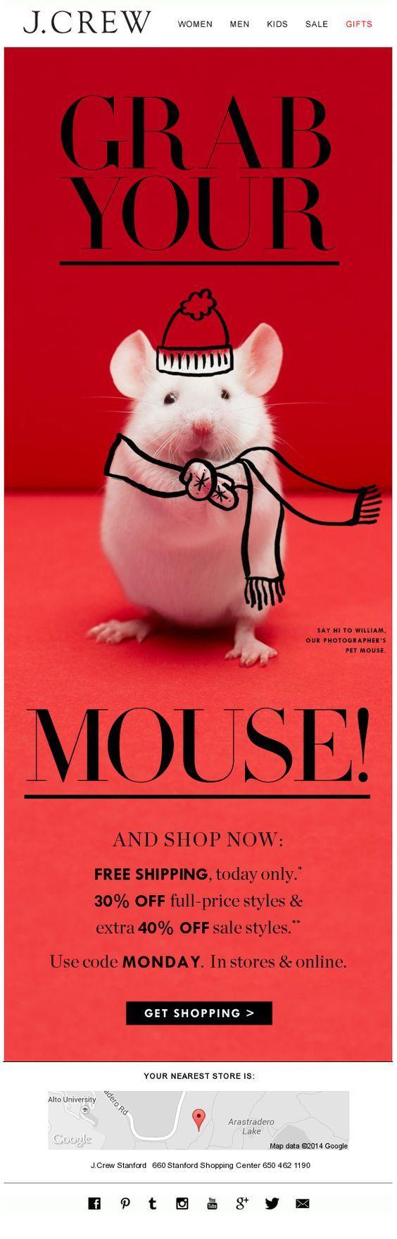"""O design desse e-mail marketing é bem simples, mas a brincadeira entre o escrito e a imagem já cativa totalmente a atenção! """"Agarre o seu mouse e compre agora..."""", um trocadilho esperto entre mouse do computador e rato em inglês, que é mouse. Um exemplo de como fazer algo simples, mas com uma mensagem bem legal.  #EmailMarketing #Newsletter #Criatividade #Creative #TudoMarketing #TudoMkt"""
