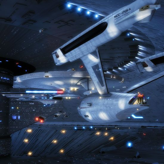 Star Trek Celebrating the Ships of the Line: USS Enterprise NCC-1701-A with Excelsior NX-2000 in the background.