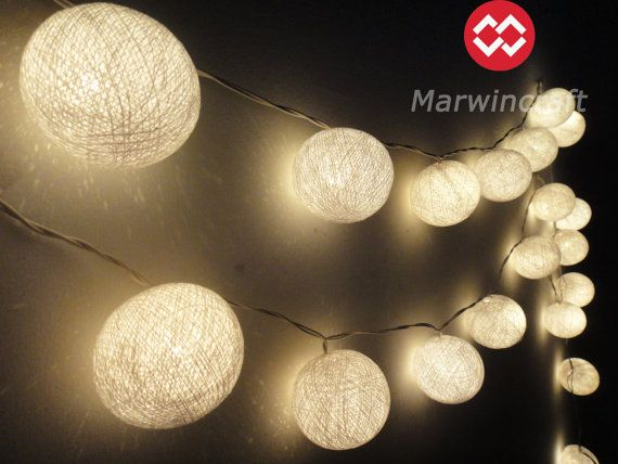 35 Tiny White Color Cotton Balls Fairy String Lights Party Patio Wedding Floor Table or Hanging Gift Home Decor Living Bedroom Holiday on Etsy, $15.97
