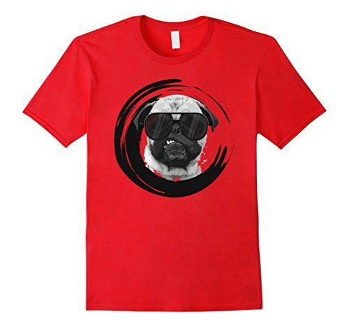 Men's Pug Face With Glasses T-Shirt Novelty Dog Lover Des…