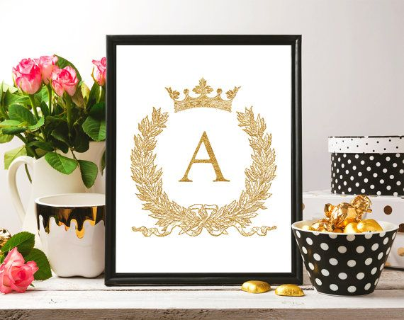 8x10 Gold Glitter Sign Any Letter Alphabet ABC от DreamPrintable