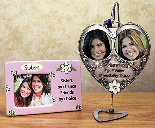 Sisters Picture Frame & Hanging Double Photo Ornament Set