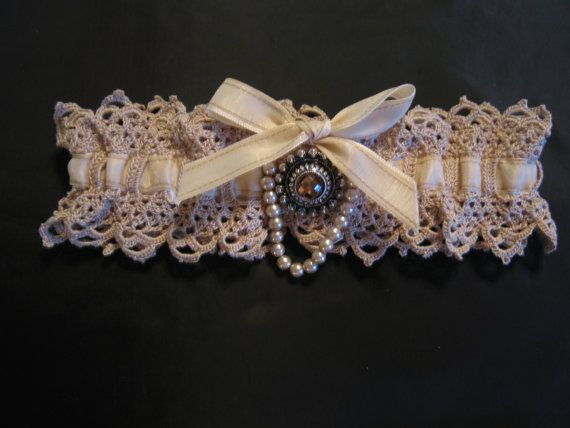 Bridal garter fine crocheted lace with jeweled. Wished I'd had more time!