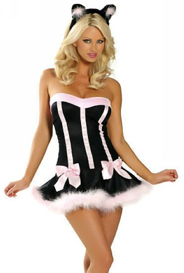 Pink Cat Fancy Dress Sexy Black + Pink Cheshire Kitty Halloween Costume UK 10 12