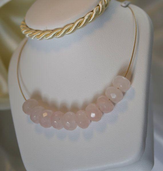 Halskette Vergoldet Edelstahlkette Rosenquarz von MorgentauSchmuck