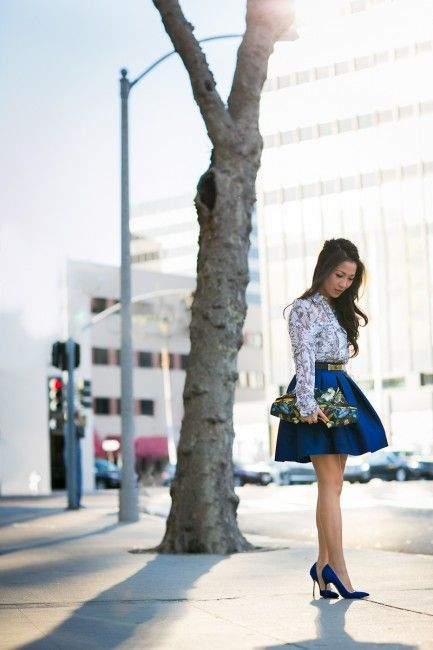 Wendy's Lookbook: Butterflies :: Sheer silk & Cobalt blue details