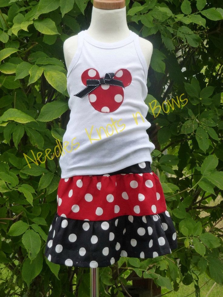 Girls Minnie Mouse Skirt Outfit, Tank Top with Appliqued Minnie Mouse on the Front with Red and Black Twirl Skirt