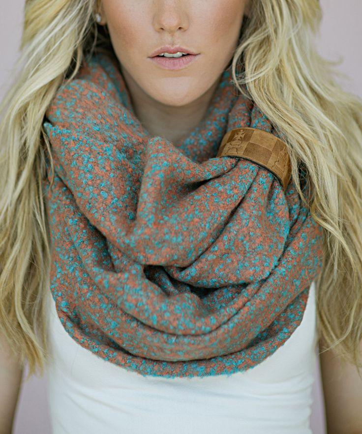 Turquoise & Burnt Orange Abstract Infinity Scarf | zulily @DianeEvansIslas~Easy Elegance