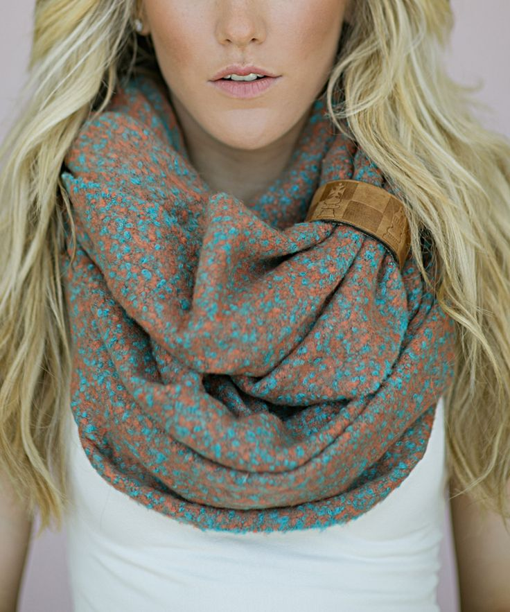 Turquoise & Burnt Orange Abstract Infinity Scarf | zulily @DianeEvansIslas~Easy Elegance