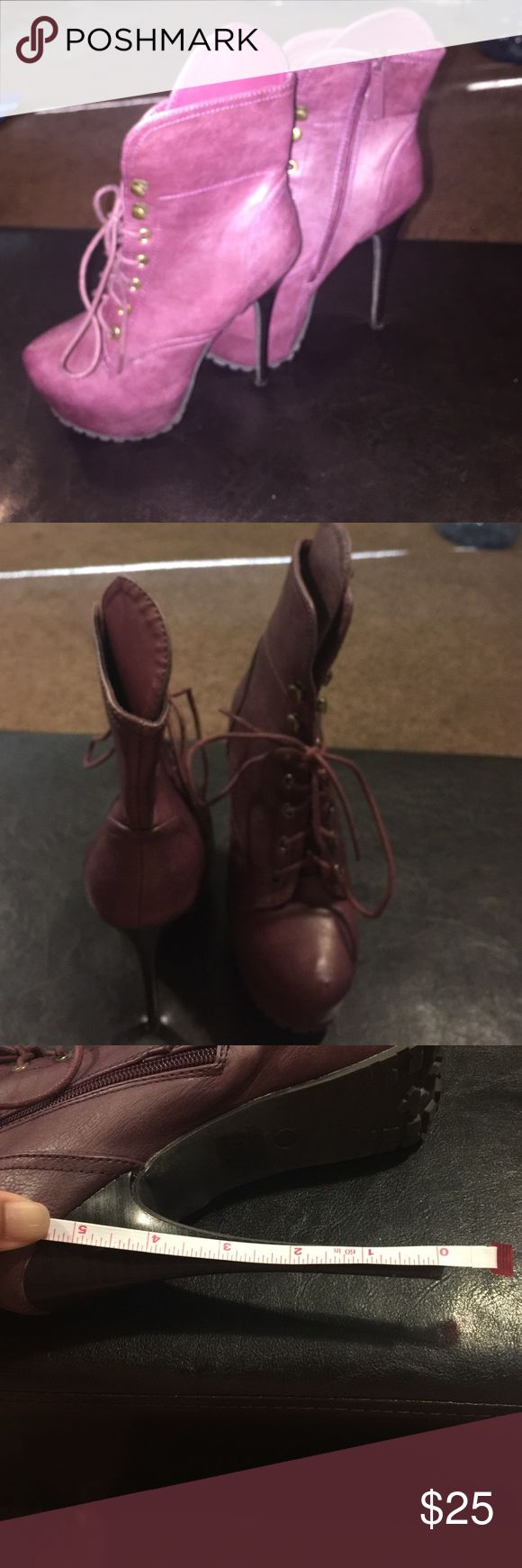Purple ankle boots Exotic purple ankle boots, worn a handful of times. Boots are in great condition, perfect for the club/lounge scene. Size 7 in women. Shoes Heeled Boots