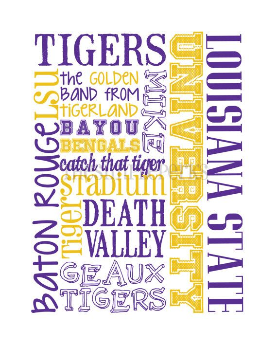 LSU Tigers 11x14 by theSimplePerks on Etsy, $20.00
