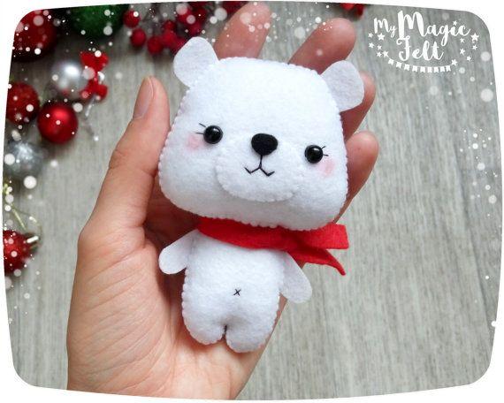Adornos navideños fieltro Oso Polar ornamento regalos de
